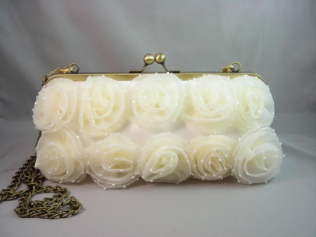 Wedding Clutch - Ivory XL Bridal Clutch with Brass Chain - Ready to Ship