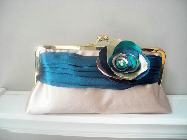 Modern Bride - Peacock Satin Bridal Clutch - Made to Order -Customized in your own Wedding Colors