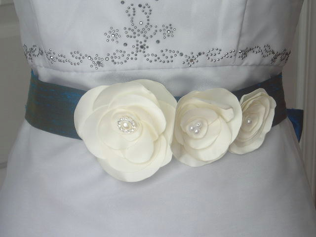 Dupioni Silk Bridal Sash in London Blue with 3 Removable Ivory Fabric Flowers
