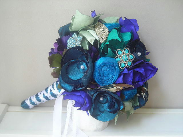 Bridal Vintage Brooch and Fabric Flower Bouquet in Peacock Blues and Greens - Made to Order