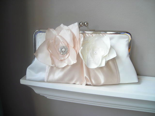 Princess - Satin Bridal Clutch with Fabric Flowers and Rhinestones - Made to order and Customizable in your own Wedding Colors