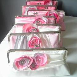 Modern Bride Bridesmaids&#039; Clutch in Satin Customized in your own Wedding Colors