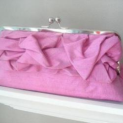 Sabrina Bridal Dupioni Silk Clutch in Raspberry Ready to Ship