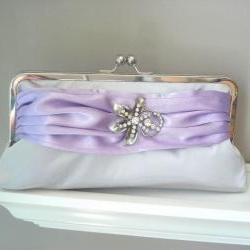 Modern Satin Clutch in Silver and Lilac with Vintage Rhinestone Brooch - Ready to Ship