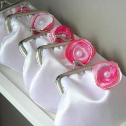 Wedding on a Budget - 5 Cute Satin Bridesmaids' Coin Purses with Fabric Flowers Customized in your Wedding Colors