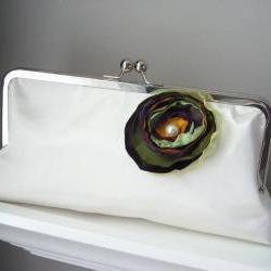 Spring Bride - Ivory Satin Bridal Clutch - Ready to Ship or Customized in your own Wedding Colors