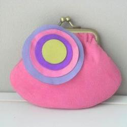 Cute Suede Leather Coin Purse in Dark Pink