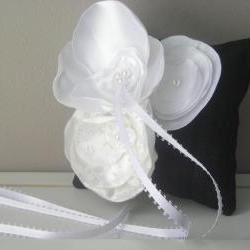 Small Black Dupioni Silk Ring Bearer&#039;s Pillow with White and Off White Accent Flowers - Ready to Ship