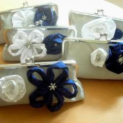 Modern Bridal Dupioni Silk Clutch with Silk Flower Accents - Customizable in the Color of your Choice
