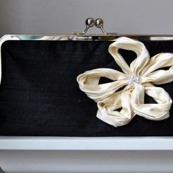 Bianca Modern Bridal Dupioni Silk Clutch with Dahlia Flower Accent - Customizable in the Color of your Choice