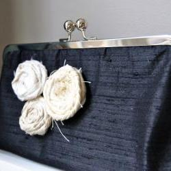 Isabella Modern Bridal Dupioni Silk Clutch with Rolled Rose Flower Accent - Customizable in the Color of your Choice