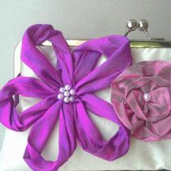 Rebecca Modern Bridal Dupioni Silk Clutch with Flower Accents - Customizable in the Colors of your Choice