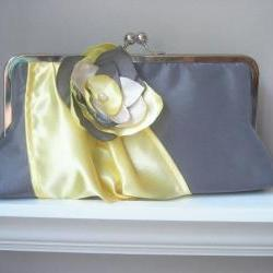 Modern Bride Bridal and Bridesmaids&#039; Clutch in Satin Made to Order and Customizable in your own Wedding Colors