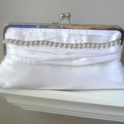Wedding Clutch - Vanessa Dupioni Silk Bridal Clutch in White with Vintage Rhinestone Jewelry - Ready to Ship