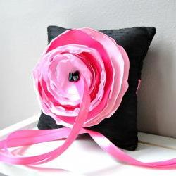 Black Dupioni Silk Ring Bearer&#039;s Pillow with Pink and Fuchsia Accent Flower - Ready to Ship