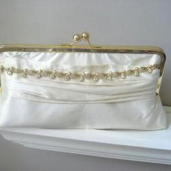 Vanessa Dupioni Silk Bridal Clutch in Ivory with Vintage Rhinestone Jewelry - Ready to Ship